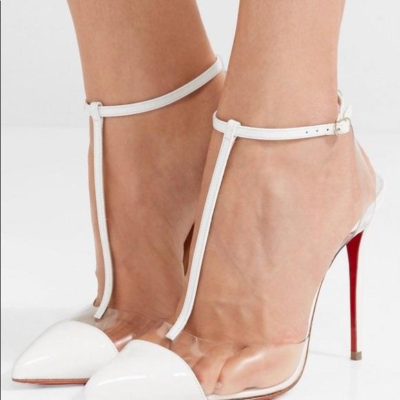 412150097391 Christian Louboutin Shoes - Louboutin Nosy White T-Strap Pump Heels